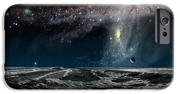Galaxy Paintings iPhone Cases - Far Future Earth iPhone Case by Don Dixon