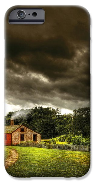 Farm - Barn - Storms a comin iPhone Case by Mike Savad