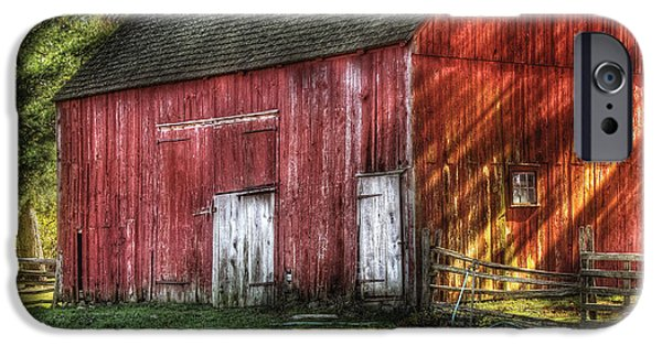 Suburbanscenes iPhone Cases - Farm - Barn - The old red barn iPhone Case by Mike Savad