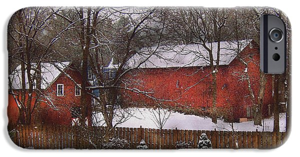 Savad iPhone Cases - Farm - Barn - Winter in the Country  iPhone Case by Mike Savad