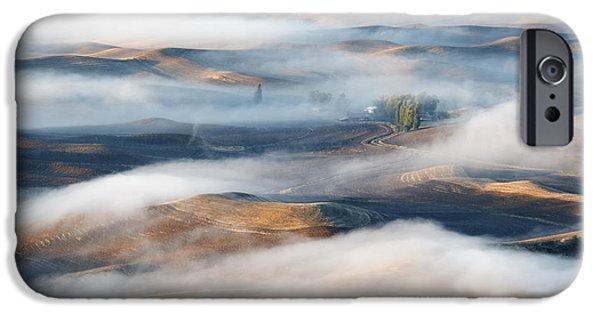 Fog Mist iPhone Cases - Farm beneath the Fog iPhone Case by Mike  Dawson