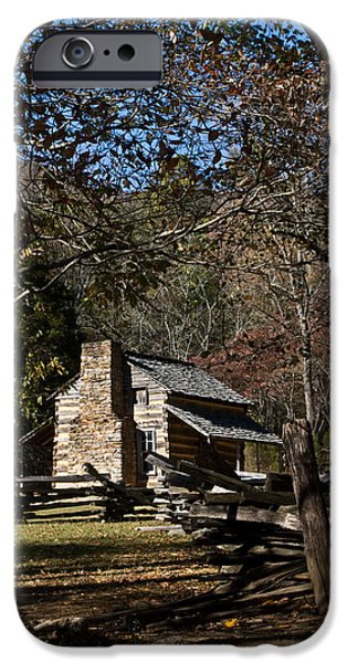 Tennessee Farm iPhone Cases - Farm Cabin Cades Cove Tennessee iPhone Case by Douglas Barnett