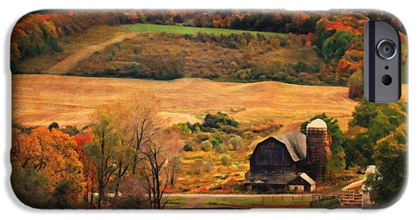 Autumn Scenes iPhone Cases - Farm Country Autumn - Sheldon NY iPhone Case by Lianne Schneider