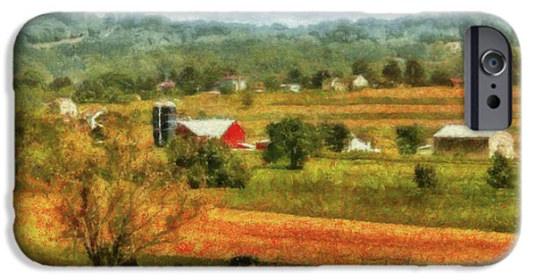 Fields iPhone Cases - Farm - Cow - Cows Grazing iPhone Case by Mike Savad