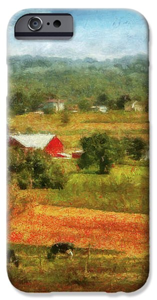 Farm - Cow - Cows Grazing iPhone Case by Mike Savad