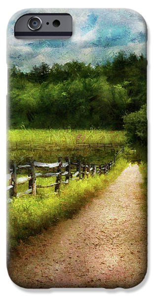 Farm - Fence - Every journey starts with a path  iPhone Case by Mike Savad