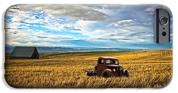 Old Cars iPhone Cases - Farm Field Pickup iPhone Case by Steve McKinzie