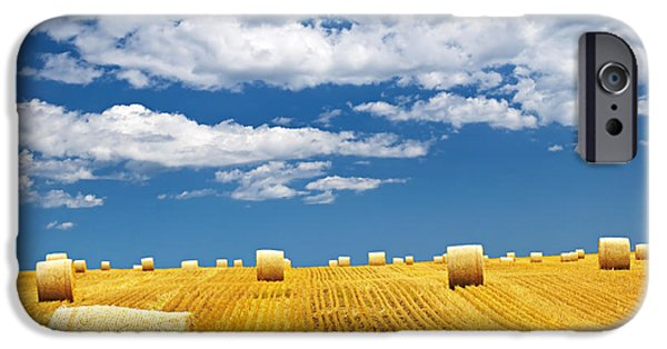 Field. Cloud iPhone Cases - Farm field with hay bales iPhone Case by Elena Elisseeva
