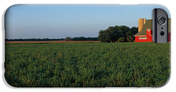 Illinois Barns iPhone Cases - Farm Fields Stelle Il Usa iPhone Case by Panoramic Images