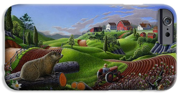 Groundhog iPhone Cases - Farm Folk Art - Groundhog Spring Appalachia Landscape - Rural Country Americana - Woodchuck iPhone Case by Walt Curlee