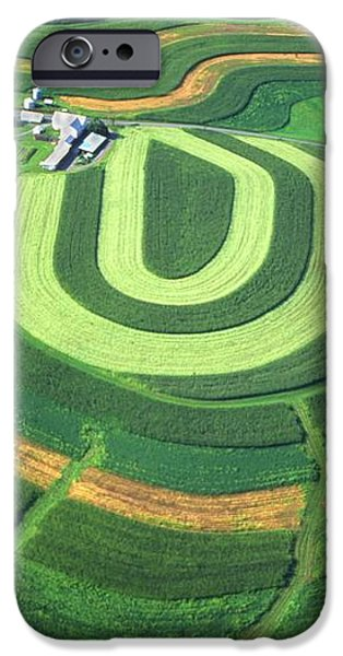Farm greens and hillside contour plowing iPhone Case by Blair Seitz