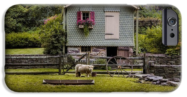 Charming Cottage iPhone Cases - Farm House And Babydoll Sheep iPhone Case by Susan Candelario