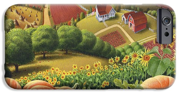 America Paintings iPhone Cases - Farm Landscape - Autumn Rural Country Pumpkins Folk Art - Appalachian Americana - Fall Pumpkin Patch iPhone Case by Walt Curlee