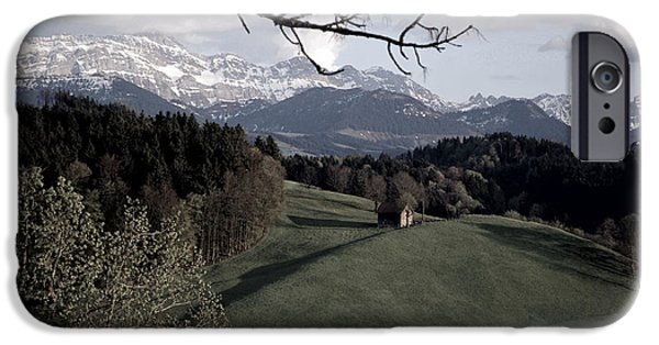 Swiss Landscape iPhone Cases - Farm Scene in Switzerland 2 iPhone Case by Susanne Van Hulst