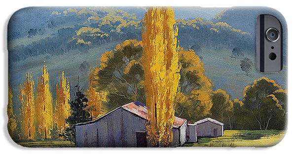 Shed Paintings iPhone Cases - Farm sheds Painting iPhone Case by Graham Gercken