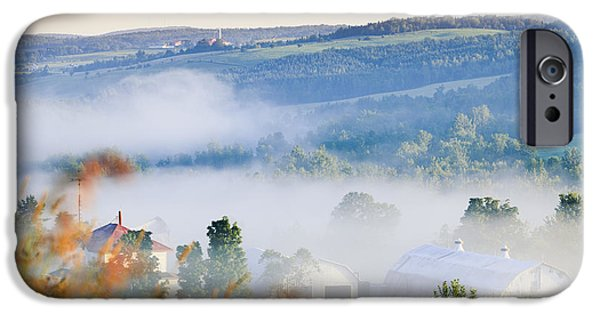 Agricultural iPhone Cases - Farm Structures Through Fog iPhone Case by Yves Marcoux