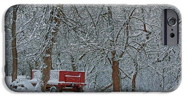 Nebraska iPhone Cases - Farm Wagon in Winter iPhone Case by Nikolyn McDonald