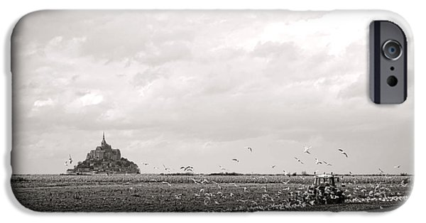 Flying Seagull iPhone Cases - Farm Work at Mont Saint Michel iPhone Case by Olivier Le Queinec