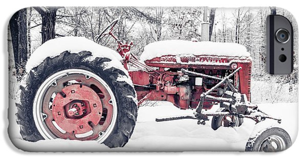 New England Farm iPhone Cases - Farmall Super C Tractor in Winter iPhone Case by Edward Fielding