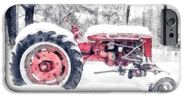 New England Farm iPhone Cases - Farmall Super C Tractor in Winter Watercolor iPhone Case by Edward Fielding