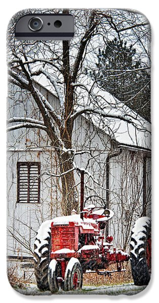 Red Barn In Winter iPhone Cases - Farmall Tractor in Winter iPhone Case by Timothy Flanigan