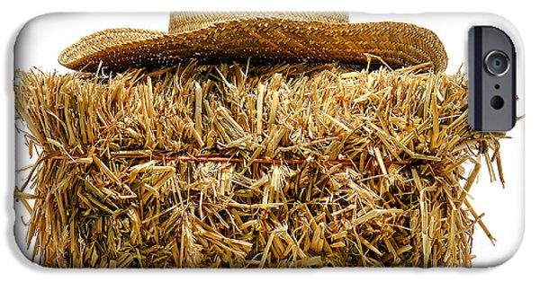 Bale iPhone Cases - Farmer Hat on Hay Bale iPhone Case by Olivier Le Queinec