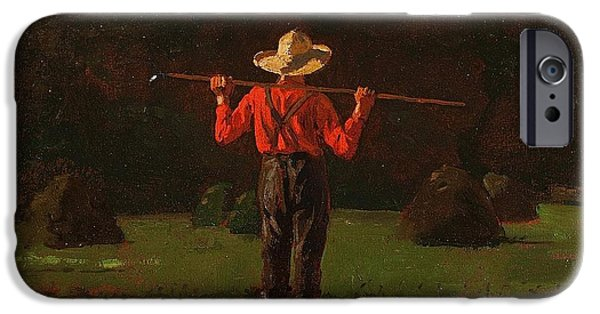 Americana Paintings iPhone Cases - Farmer with a Pitchfork 1874 iPhone Case by Winslow Homer