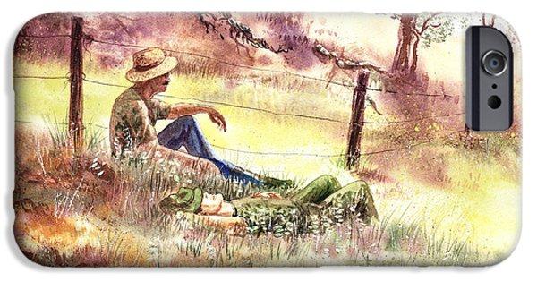 Farm Fields Paintings iPhone Cases - Farmers And Hunters Heaven iPhone Case by Irina Sztukowski