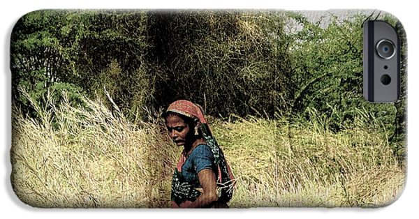 Village iPhone Cases - Farmers Fields Harvest India Rajasthan 2b iPhone Case by Sue Jacobi