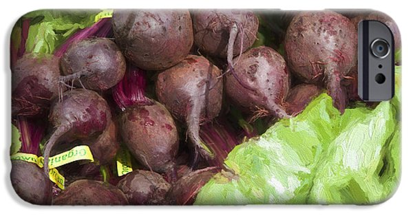 Farm Stand iPhone Cases - Farmers Market Beets and Greens Square iPhone Case by Carol Leigh