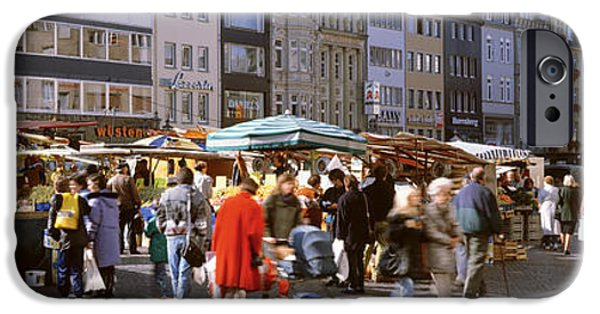 Farm Stand Photographs iPhone Cases - Farmers Market, Bonn, Germany iPhone Case by Panoramic Images