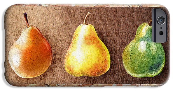 Pears Paintings iPhone Cases - Farmers Market Drive Through Red Yellow And Green Pear iPhone Case by Irina Sztukowski