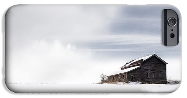 Barns In Snow iPhone Cases - Farmhouse - A snowy winter landscape iPhone Case by Gary Heller
