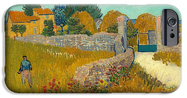Arles iPhone Cases - Farmhouse in the Provence iPhone Case by Vincent van Gogh