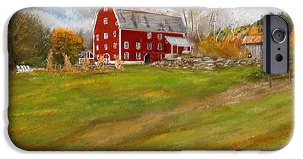 Autumn Scenes Paintings iPhone Cases - Red Barn Art- Farmhouse Inn At Robinson Farm iPhone Case by Lourry Legarde