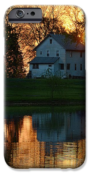 Reflecting Sunset iPhone Cases - Farmhouse Reflections at Sunset iPhone Case by Jill Battaglia