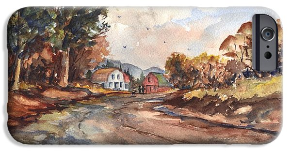 Autumn Scenes Drawings iPhone Cases - Rural Delivery iPhone Case by Carol Wisniewski
