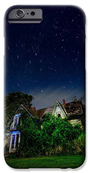 Pioneer Homes iPhone Cases - Farmhouse Star Trails.  iPhone Case by Cale Best