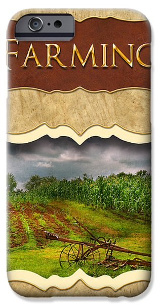 Farming and country life button iPhone Case by Mike Savad