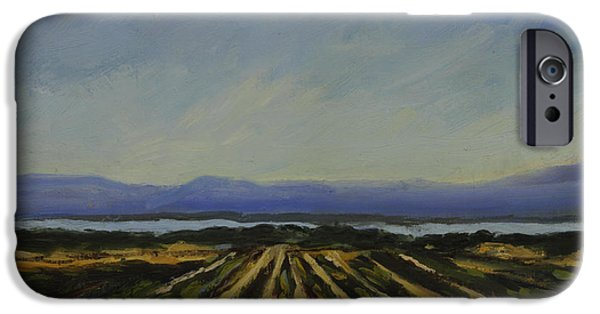 Desert Scape iPhone Cases - Farming by the Sea iPhone Case by Maria Hunt