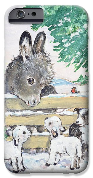 Donkey iPhone Cases - Farmyard Friends, 1996 Wc iPhone Case by Diane Matthes