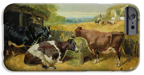 Rural iPhone Cases - Farmyard Scene, 1853 Oil On Canvas iPhone Case by John Frederick Herring Snr