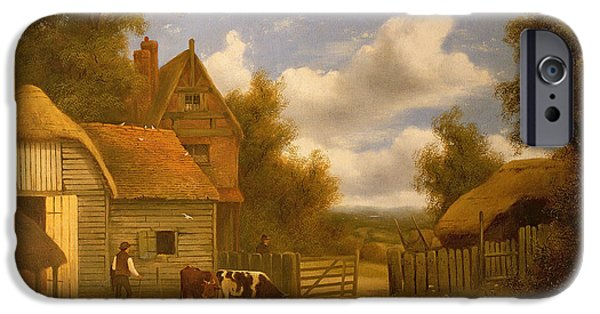 Farm iPhone Cases - Farmyard Scene iPhone Case by Charles Vickers