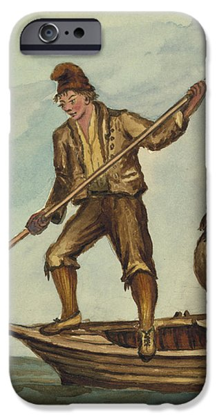 Beach Drawings iPhone Cases - Faroese islanders Circa 1862 iPhone Case by Aged Pixel