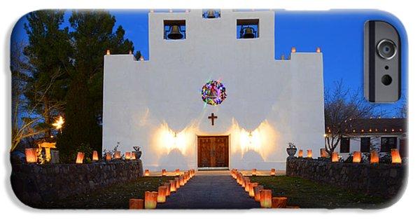 Christmas Eve iPhone Cases - Farolitos Saint Francis De Paula Mission iPhone Case by Bob Christopher