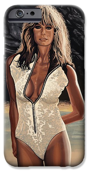 Bathing Paintings iPhone Cases - Farrah Fawcett iPhone Case by Paul Meijering