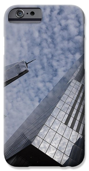 Business Photographs iPhone Cases - Fascinated with Manhattan - Sky Glass and Skyscrapers iPhone Case by Georgia Mizuleva