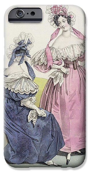 Model iPhone Cases - Fashion Plate From, Le Follet Courrier Des Salons Modes, 1832 Colour Litho iPhone Case by French School