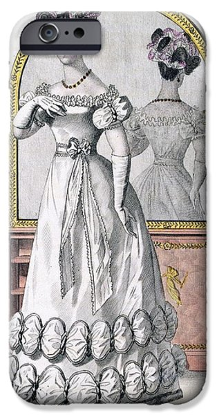 Female Drawings iPhone Cases - Fashion Plate Of A Lady In Evening iPhone Case by English School