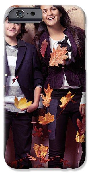 Fashionably dressed boy and teenage girl fall fashion iPhone Case by Oleksiy Maksymenko